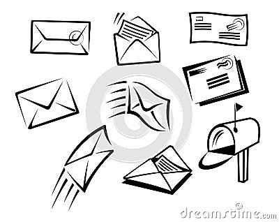 信封和在白色背景隔绝的邮件标志.图片