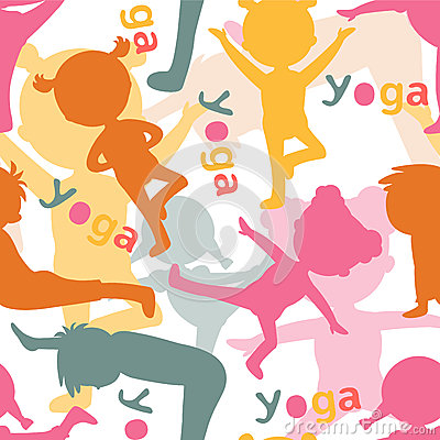 做瑜伽的孩子现出轮廓无缝的样式 也corel凹道例证向量.图片