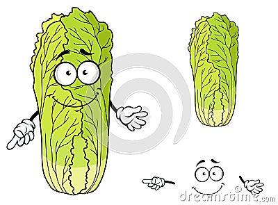 与逗人喜爱的面孔和愉快的微笑的健康叶茂盛绿色动画片大白菜菜,隔绝图片