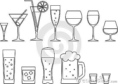 套充分的觚,酒杯和杯子啤酒.图片