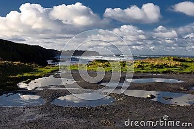 充满活力沿海爱尔兰风景的海景