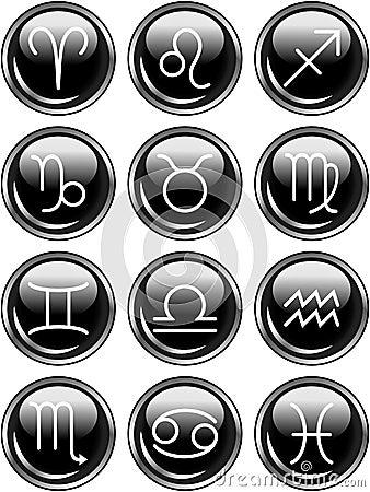 光滑的按钮黄道带占星标志