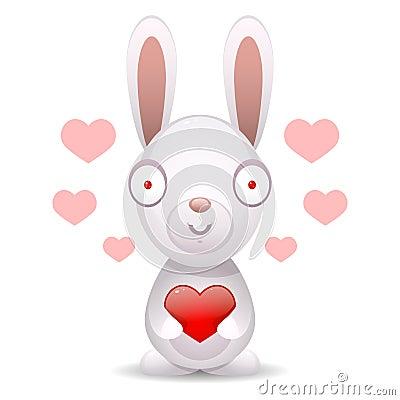 兔子拿着大心脏图片