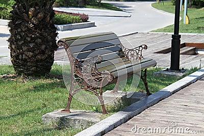 沿走道的黑公园长椅.图片