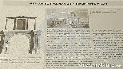 关于Hadrian的曲拱的参考信息游人的在希腊和英语 股票视频