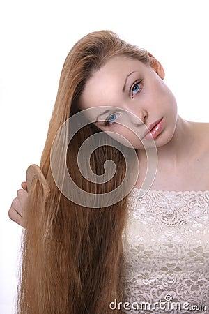 关心女孩头发她图片