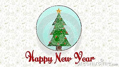 写在新年快乐和生气蓬勃的圣诞树装饰上写字 股票视频