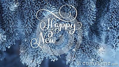 写白色新年快乐动画书法字法发短信在雪杉树背景 安卡拉 圣诞节 股票录像