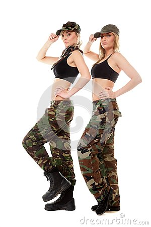 军用库存的两名气场,图片妇女军队女孩-衣裳的女生照片足
