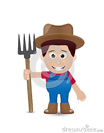 农夫的工具_与棕色帽子和工具的农夫字符.