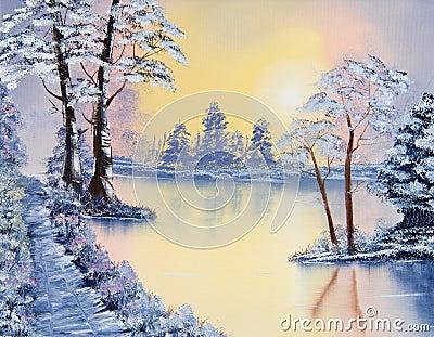 一个湖和trres的美丽的图画在一个冷颤的冬天早晨.图片