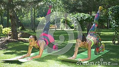 减肥做与一条腿的适合的妇女板条锻炼 股票视频
