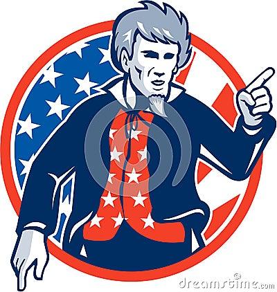 把手指指向的山姆大叔的例证您设置了与从前方星条旗美国国旗的里面图片