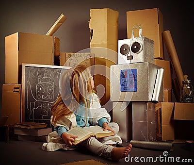 创造机器人箱子的儿童发明者
