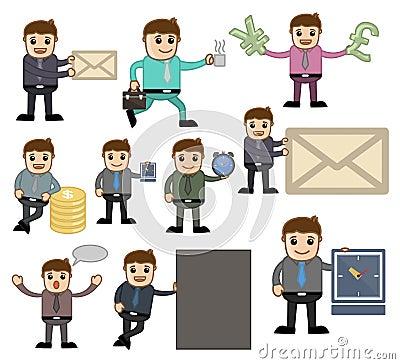 办公室和企业传染媒介漫画人物例证-各种各样的姿势图片