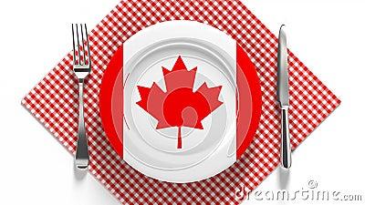 加拿大国菜 非洲美食 盘子上挂着加拿大食物的旗帜 股票视频