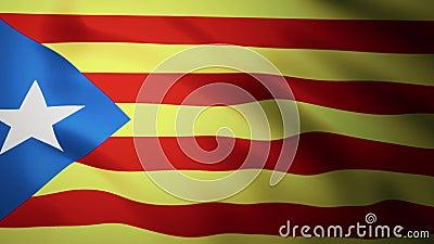 加泰罗尼亚旗挥舞着3d动画 西班牙部分地区的标志 — 加泰罗尼亚民族织物3D绘制 股票录像