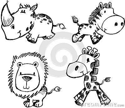 动物集合草图向量