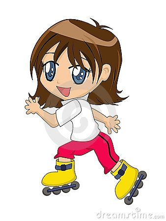 动画片女孩轴向冰鞋