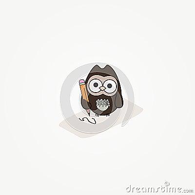 动画片猫头鹰纸张铅笔