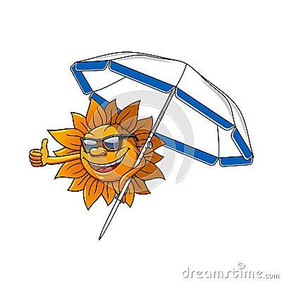 动画片与伞的太阳字符图片