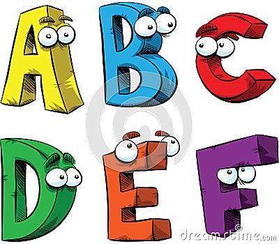 �ya_在字母表的a-f上写字作为友好的漫画人物.