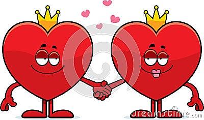 心脏的国王和女王/王后的动画片例证握手的.图片
