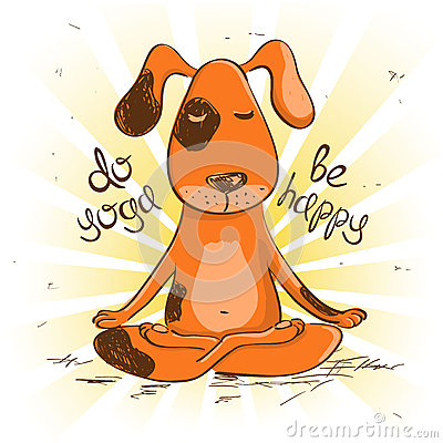 与动画片红色狗的滑稽的例证坐瑜伽的莲花坐.图片