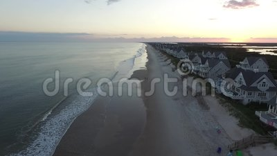 北部Topsail海滩的, NC海滨别墅沿海地带鸟瞰图  影视素材