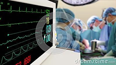 医院手术室生命体征监测仪 影视素材
