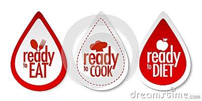 厨师饮食吃准备好的贴纸