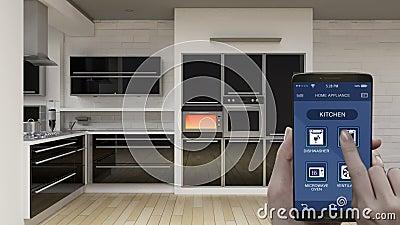 厨房室在流动应用,巧妙的电话,节能效率,烤箱,事互联网的家电控制  皇族释放例证