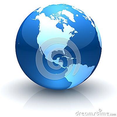 发光北部美国蓝色饰面的地球