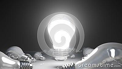 各种各样的电灯泡光和开电灯泡光
