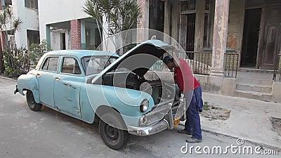 哈瓦那,古巴,固定的老美国汽车