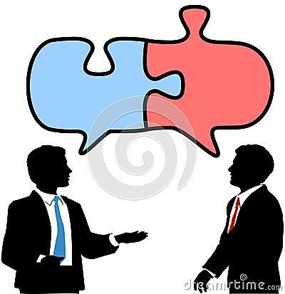 库存照片: 商业合作连接人难题谈话图片