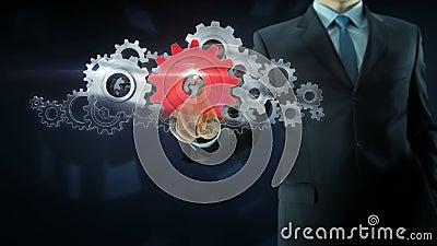 商人成功齿轮队工作概念红色