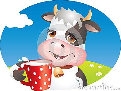 喝滑稽的牛奶的母牛