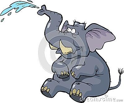 喷水的大象图片
