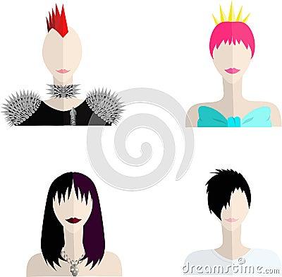 亚欧美色图_与五颜六色的头发的四个亚文化群人象.