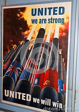 团结的海报严格 编辑类库存照片