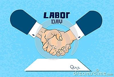 国际劳动节,握手商人合同报名参加纸张文件平的传染媒介例证.图片