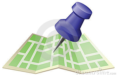 图画例证映射针推进街道