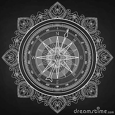 图表在画的风玫瑰色指南针线艺术样式 在黑板的船舶传染媒介例证 彩图图片