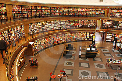 登记圆的城市装载了其图书馆斯德哥尔摩墙壁.