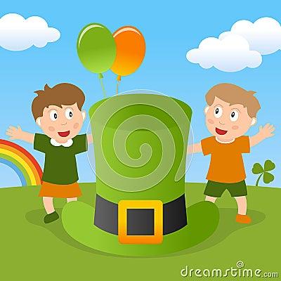 圣帕特里克s孩子&绿色帽子