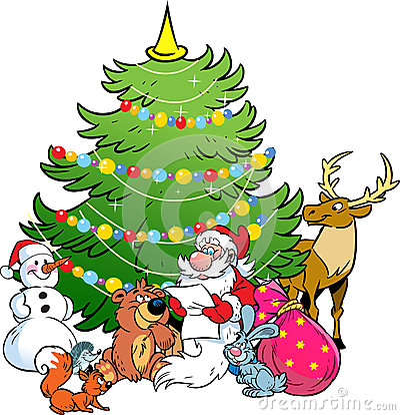 圣诞老人和森林的动物图片