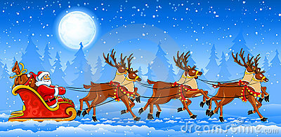 圣诞节克劳斯骑马圣诞老人雪橇