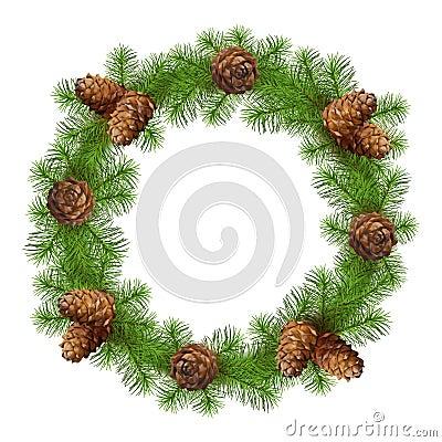圣诞节白色与图画的花圈锥体在树枝食品.背景包装设计证图片