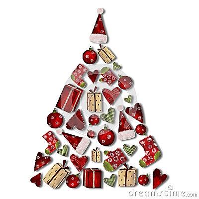 圣诞节拼贴画结构树